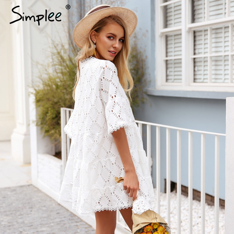 Flare sleeve cotton white lace dress