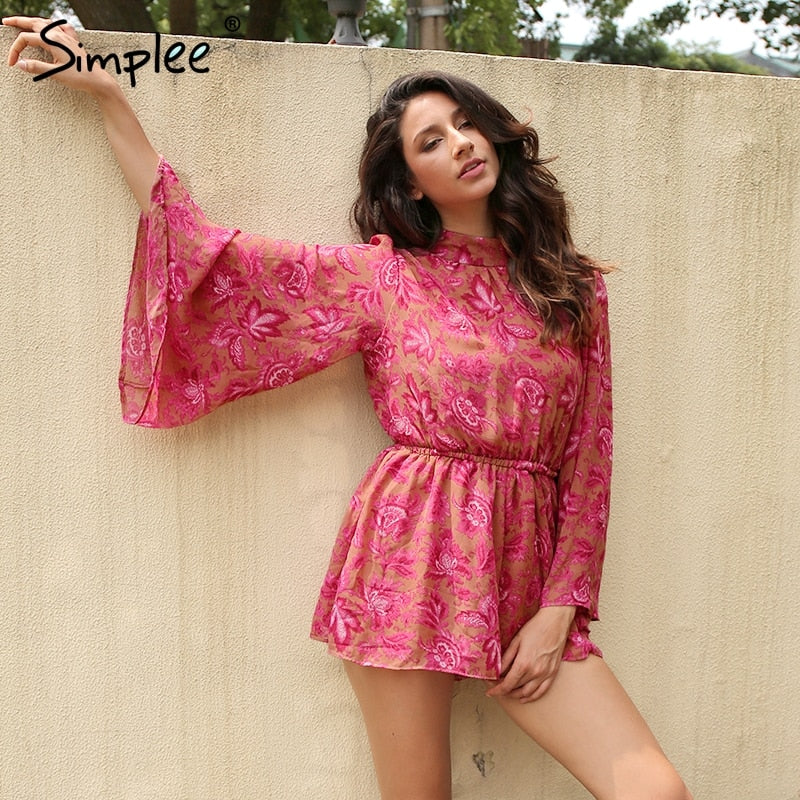 Simplee Backless lace up floral women jumpsuit romper