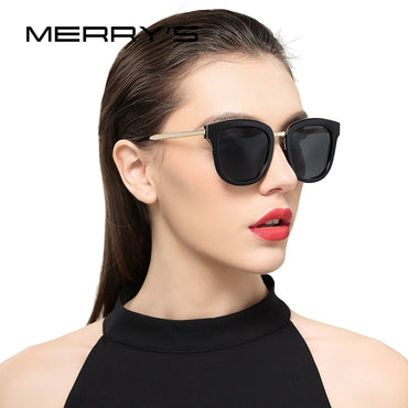 Women Classic Cat Eye Polarized Sunglasses Fashion Metal Temple 100% UV Protection