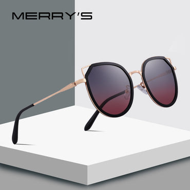 Women Fashion Cat Eye Polarized Sunglasses Gradient Lens Metal Temple 100% UV Protection