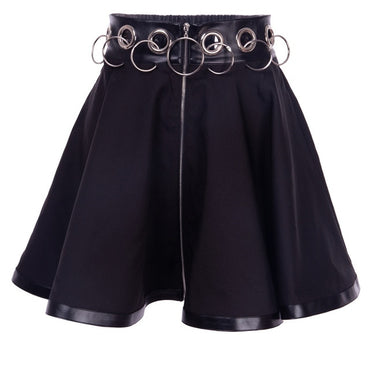 Gothic Punk Zip Up Black Skirts Women Autumn Ring High Waist