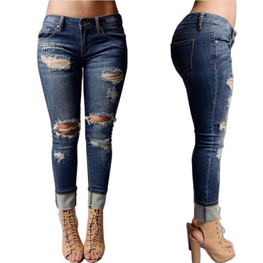 Women Trousers Destroyed Ripped Distressed Hole Slim Casual Pants Boyfriend Jeans