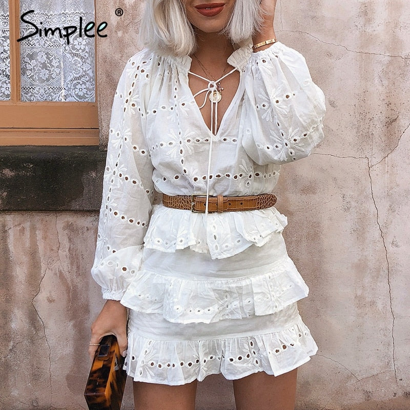 Elegant hollow out embroidery ruffles lace up bodycon dress