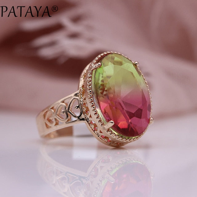 New Oval Tourmaline 13 Colors Luxury Rings Women