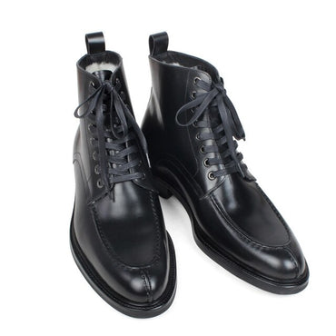Genuine Calf Leather Fur Lining Plain Black Mans Footwear Military Fashion Men's Boots
