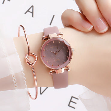 Cute Fashion Lucky Star Leather Band Women Watch