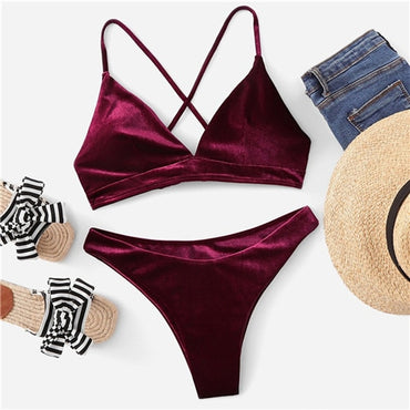 Burgundy Push Up Padded Cross Back Bikini