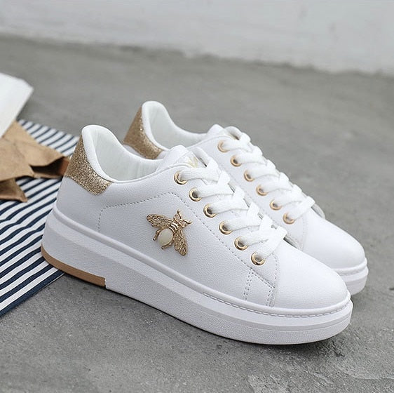 New Women Sneakers Fashion Breathable PU Leather Platform White Shoes