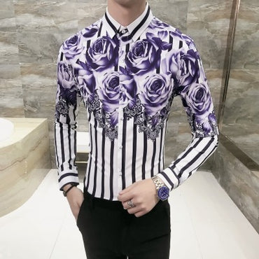 Spring Floral Shirt Men Brand New Men Shirt Long Sleeve