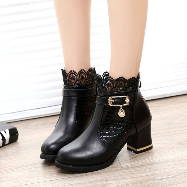 Women Ankle Boots Pattern Leather Sexy Lace Cuff Thick Heel Boots