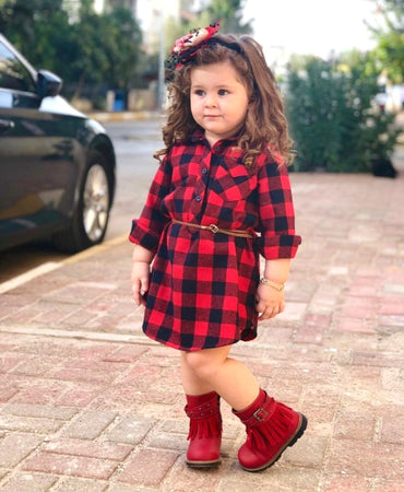 Baby Girls casual Plaid Blouses & Shirts dress