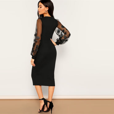 Black Embroidery Mesh Insert Stretchy Bishop Sleeve Fitted Knee Length Bodycon Dress