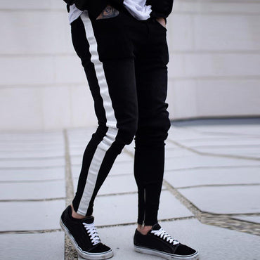Men denim ripped hole Jeans side striped line Jeans