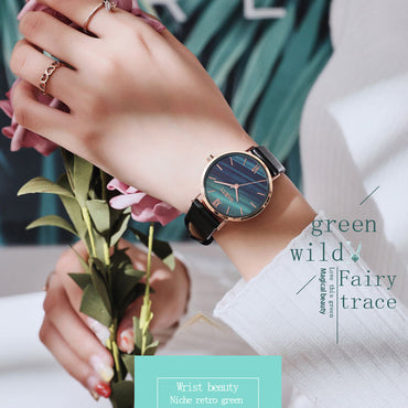 Fashion Malachite Green Luxury Leather Band Dress Watch