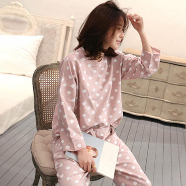 Women Sleepwear Pajamas Cute Polka Dot