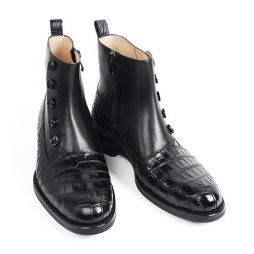 Black Round Toe Black Shoes Handmade Office Motorcycle Boots