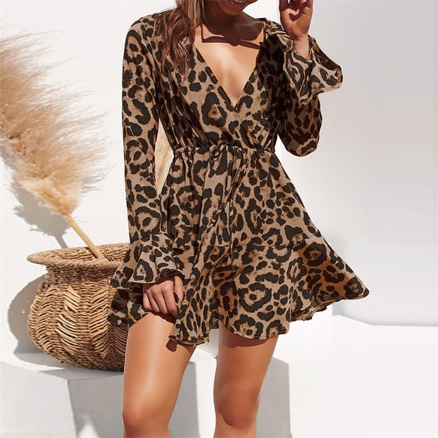 Summer Chiffon Dress Women Leopard Print Boho Beach Dresses