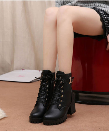 Hot Sale Lace Up Flat Wine Red Women Boots