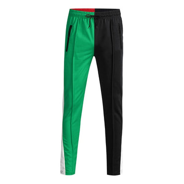 Mens Slim Fit Sweatpants Drawstring Striped Track Pants Color Block Patchwork Jogging Pant
