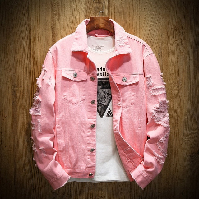 Denim Jacket Men Ripped Holes Mens Pink Jean Jackets