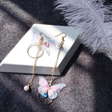 Retro Asymmetric Butterfly Imitation Pearl Earrings