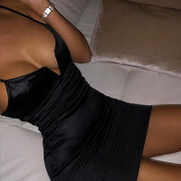 Bustier Dresses Sexy Women Deep V Neck Satin Booty Dress