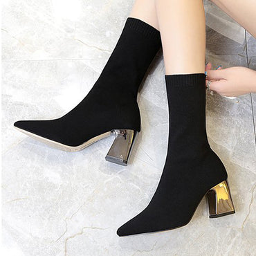 Women Black Ankle Sock Boots Fashion Spring Autumn Stretch Boots Chunky High Heels