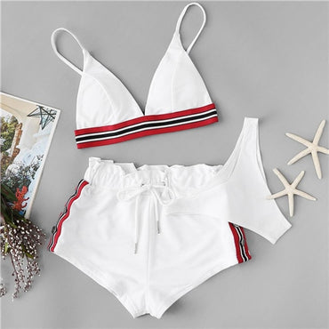 Hot Selling Striped Tape Triangle 3 Pieces Pack Bikini Set