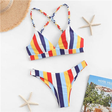 Colorful Braided Strap Top With Striped Cheeky Criss Cross Lace Up Bikini Set
