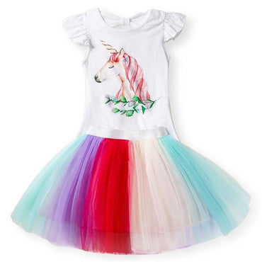Fancy Star Design Unicorn Princess Dress For Girl