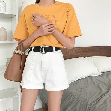 Denim Shorts Women Wide High Waist Loose