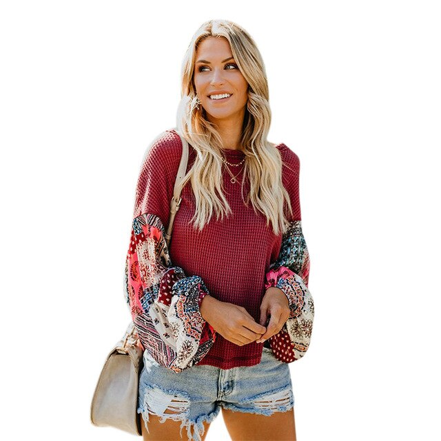 Round Neck Long Sleeve Printed Chiffon Patchwork Sweater