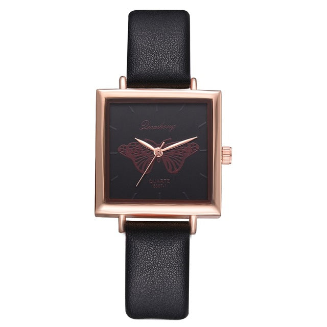Cute Fashion Butterfly  Women Bracelet Square Watch