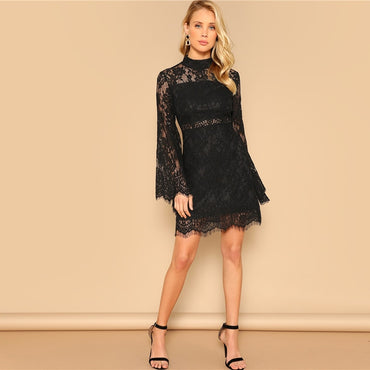 Black Floral Lace Overlay Flare Sleeve Stand Collar Slim Short Dress