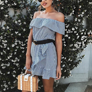 Sexy ruffle stripe Off shoulder short sleeve plaid mini dress