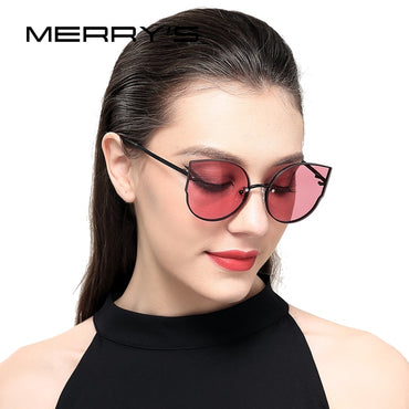 Women Classic Brand Designer Cat Eye Sunglasses Rimless Metal Frame