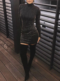 Hot Sequined Long Sleeve Tassel Bodycon Party Club Turtleneck Skinny Casual Sexy Club Dress