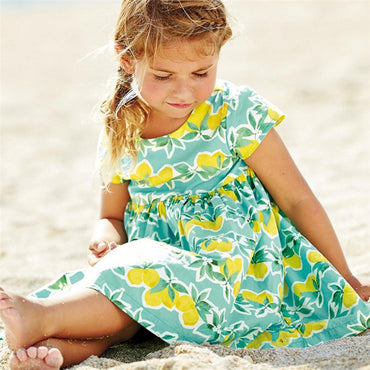 Summer Cotton fabric With fruit Printed Fashion Girls Dress