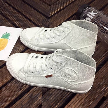 Spring Autumn Fashion White Leather Trainers Sneakers Women