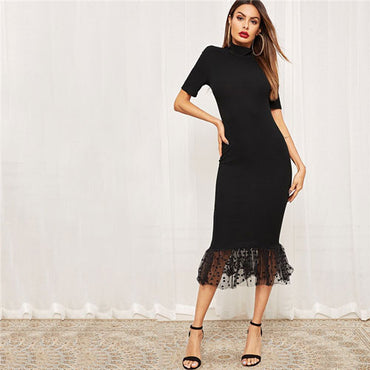 Black Elegant Form Fitting Dot Mesh Hem Midi Dress