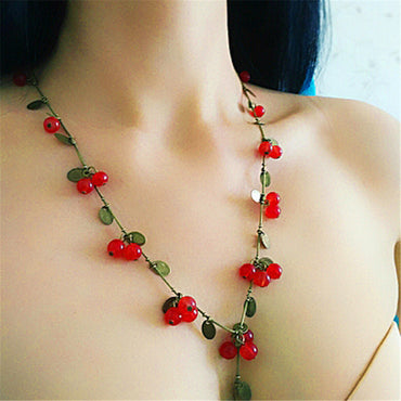 New Korean Red Cherry Necklace Cute Fruit Lady Necklaces