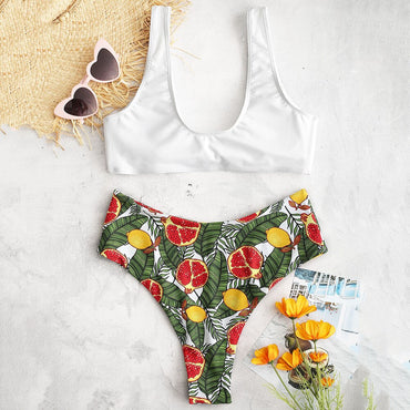Sexy Bandage Boho Floral Fruits Printed Thong Swimsuit