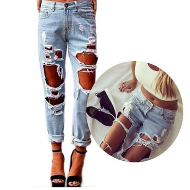 Newest Hot Women Sexy Destroyed Ripped Distressed Slim Hole Pants Boyfriend Jeans