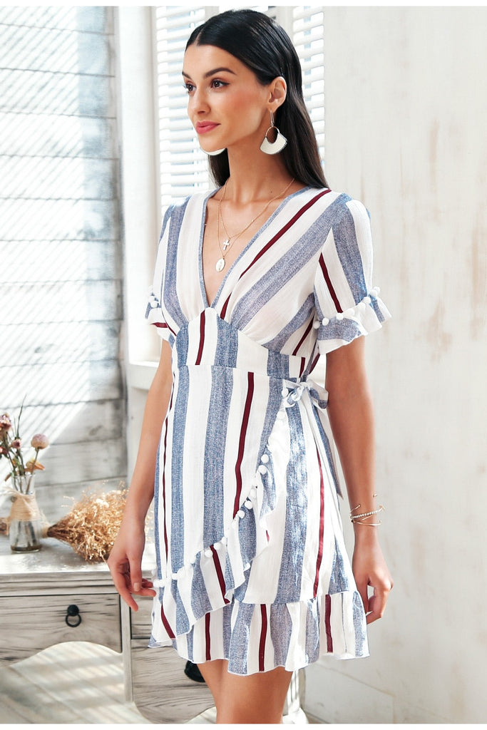 V neck stripe ruffle cotton short mini dress