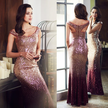 Evening Dress Long Sparkle V-Neck Elegant Sequin Mermaid Maxi Evening Party Gown Dress