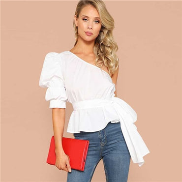 White One Shoulder Puff Sleeve Peplum Knot Belted Ruffle Elegant Party Blouse
