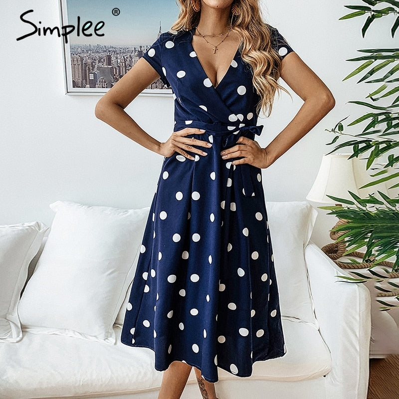 Sexy v-neck elegant sashes A-line polka dot print midi dress
