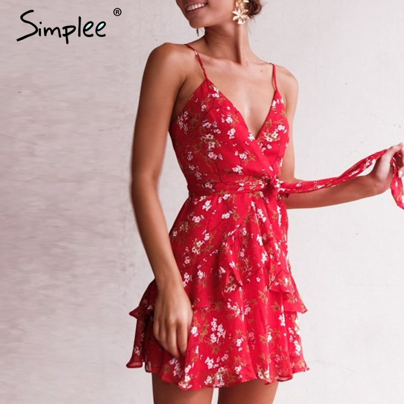 Elegant v-neck floral print dress