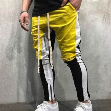 Mens New Trousers Fashion Casual Full Pants Patchwork Pants