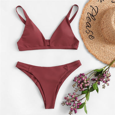 Rust Solid Cut-out Plunge Neck Triangle Top With Ruched Bikini Set